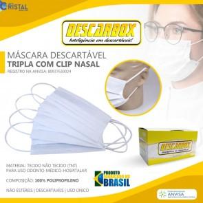 MASCARA TRIPLA CIRURGICA C/ELASTICO C/50 UNID - DESCARBOX .